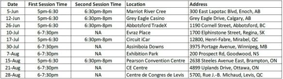 Silverado Sierra Tour Schedule